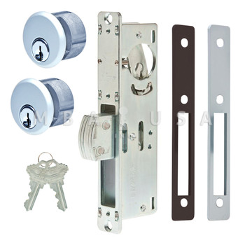 "DEAD BOLT LOCK 1-1/2"" BACKSET, 2 MORTISE KEY CYLINDERS - 1"" SCHLAGE C (KEYED ALIKE, ALUMINUM) AND 2 FACEPLATES"