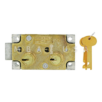 """SD LOCK, DOUBLE LITTLE NOSE, 1/2"""" DOUBLE FIXED, #4 GUARD - RIGHT HAND (BRASS)"""