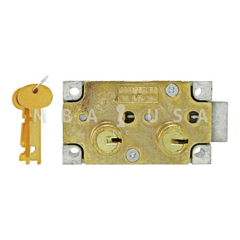 """SD LOCK, DOUBLE LITTLE NOSE, 1/2"""" DOUBLE FIXED, #4 GUARD - LEFT HAND (BRASS)"""