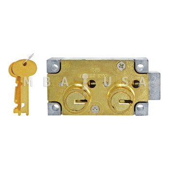 """SD LOCK, DOUBLE BIG NOSE, 1/2"""", DOUBLE FIXED, #4 GUARD - LEFT HAND (BRASS) 1"""