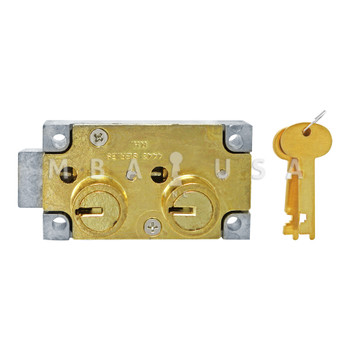 """SD LOCK, DOUBLE BIG NOSE, 1/2"""", DOUBLE FIXED, #4 GUARD - RIGHT HAND (BRASS)"""