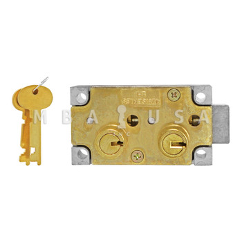 """SD LOCK, DOUBLE LITTLE NOSE, 1/2"""" DOUBLE FIXED, SY3 GUARD - RIGHT HAND (BRASS)"""
