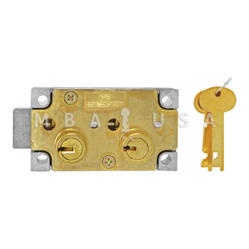 """SD LOCK, DOUBLE LITTLE NOSE, 1/2"""" DOUBLE FIXED, SY3 GUARD - LEFT HAND (BRASS)"""