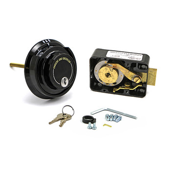 3-WHEEL LOCK, SPY PROOF DIAL & RING, BLACK & WHITE, KEY LOCKING