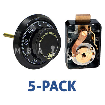 Box of 5, 3-Wheel Lock, Front Reading Dial & Ring, Black & White, Pkg