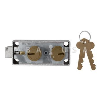 ORIGINAL MOSLER 5700 SAFE DEPOSIT LOCK, BRASS NOSES, RECONDITIONED