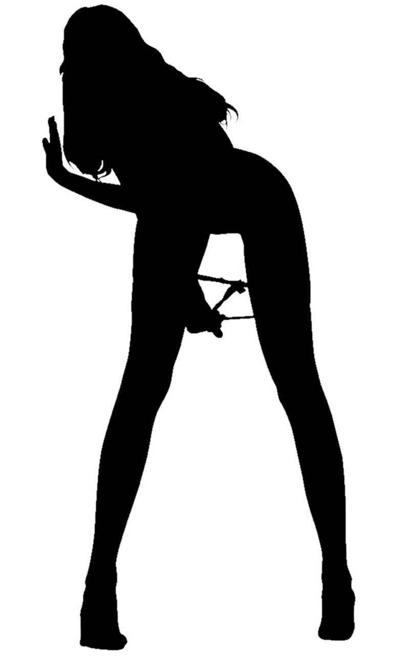 Sexy Naughty Girl Pinup Bent Over - Black Pearl Custom Vinyls-1398