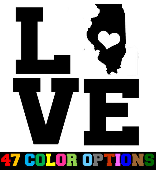 Home State Outline Love USA Illinois