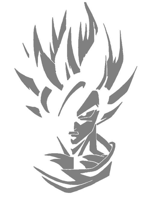 DIY Art Paint Reusable Stencil Silhouette - Dragon Ball Z Super Saiyan Goku v3