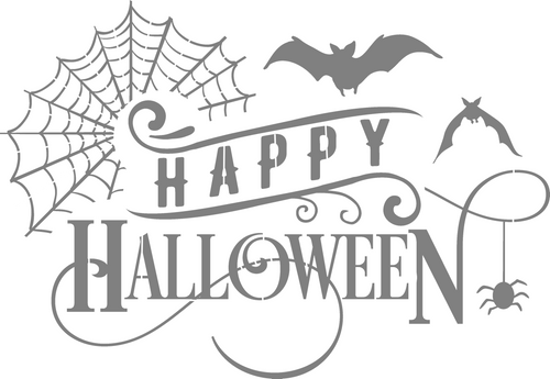 DIY Art Project Paint Reusable Stencil Silhouette - Happy Halloween Spider Web