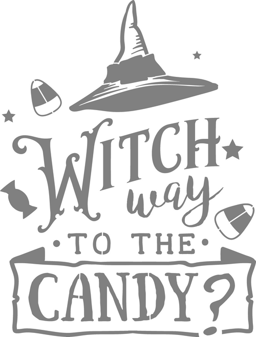 DIY Art Project Paint Reusable Stencil Silhouette Halloween Witch Way To Candy