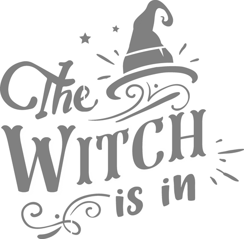DIY Art Project Paint Reusable Stencil Silhouette - Halloween The Witch Is In