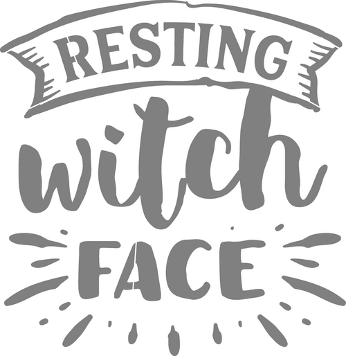 DIY Art Project Paint Reusable Stencil Silhouette - Halloween Resting Witch Face