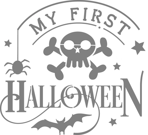 DIY Art Project Paint Reusable Stencil Silhouette - Baby My First Halloween
