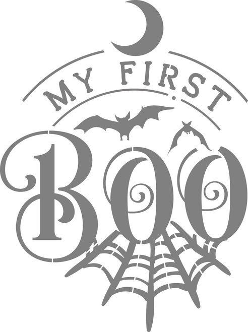 DIY Art Project Paint Reusable Stencil Silhouette - Halloween Baby My First Boo