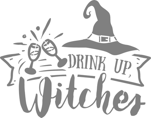 DIY Art Project Paint Reusable Stencil Silhouette - Halloween Drink Up Witches
