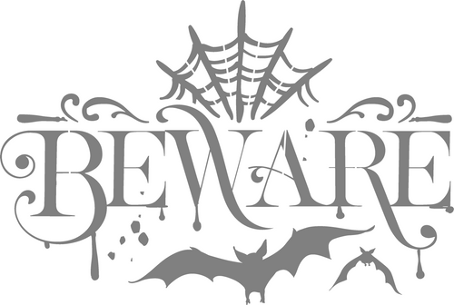 DIY Art Project Paint Reusable Stencil Silhouette - Halloween Beware Bat