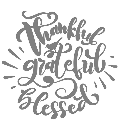 Art Paint Reusable Stencil Silhouette - Thanksgiving Thankful Grateful Blessed