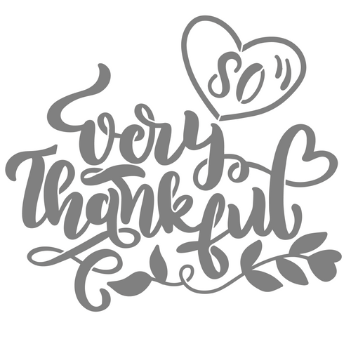 Art Paint Reusable Stencil Silhouette - Thanksgiving Heart So Very Thankful