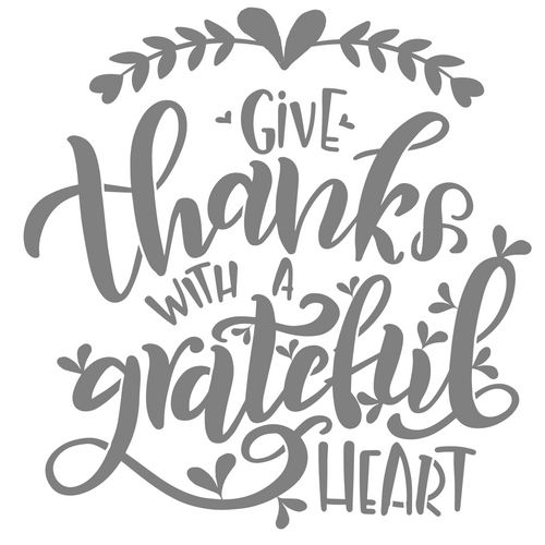 Art Paint Reusable Stencil Silhouette - Thanksgiving Give With A Grateful Heart