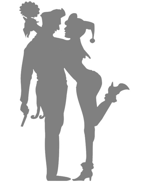 DIY Art Project Paint Reusable Stencil Silhouette - Joker Harley Quinn Married
