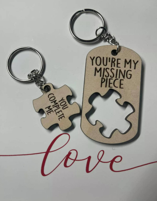 Puzzle Piece Couples Keychain Maple