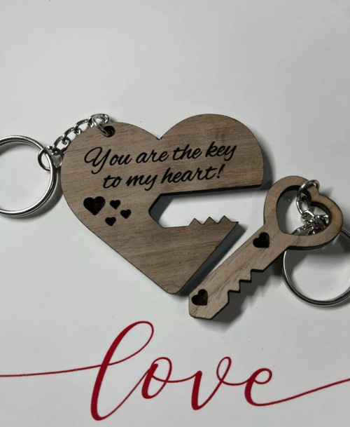 Heart And Key Couples Keychain Walnut