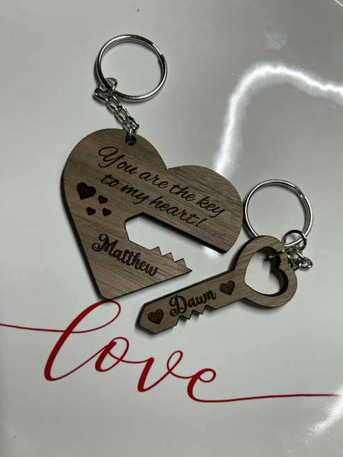 Custom Heart And Key Couples Keychain Walnut