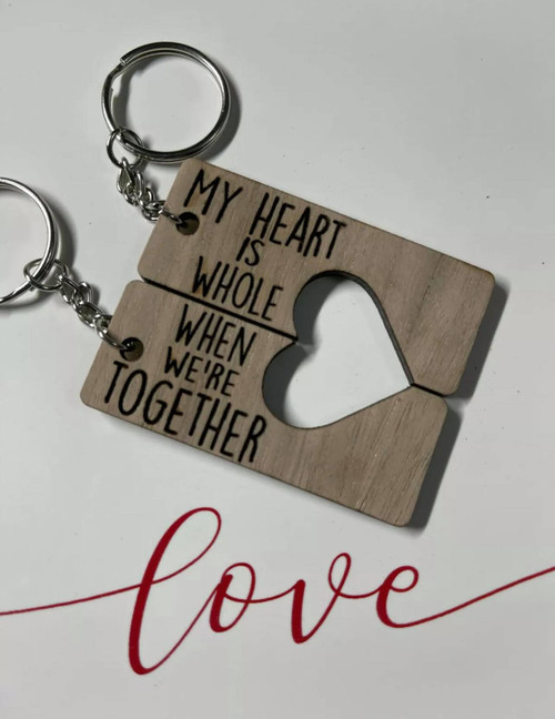 My Heart Is Whole Couples Keychain Walnut
