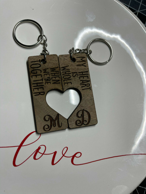 Custom Initials My Heart Is Whole Couples Keychain