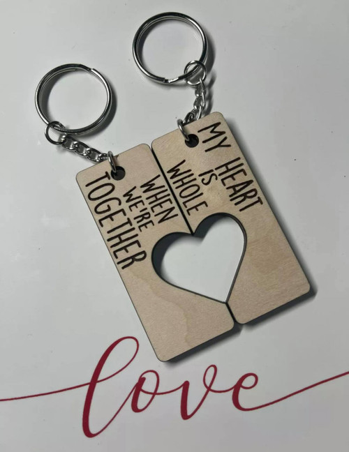 My Heart Is Whole Couples Keychain Maple