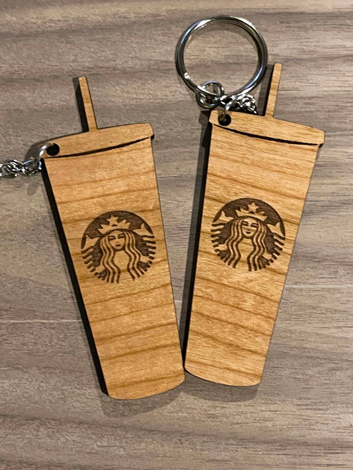 Starbucks Wood Keychain