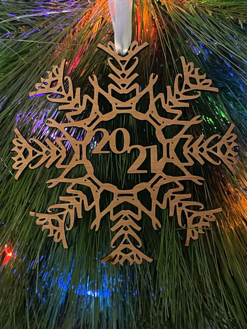 Funny Fuck_2021 Laser Engraved Snowflake Christmas Tree Ornament
