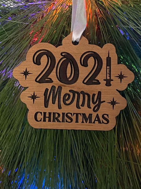 Funny Laser Engraved Christmas Tree Ornament 2021 Merry Christmas Vaccine