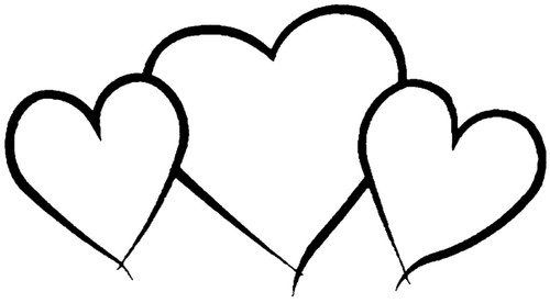 Three Heart Outline Love