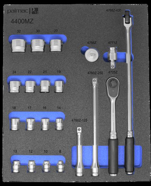 "Ko-ken Z Series Socket Set in Foam PM-HND-1006-00-F | 1/2"" Socket and Driver Set"