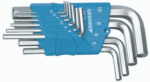 Gedore 1505408, Hexagon Allen key set in holder 10 pcs 1.3-10 mm