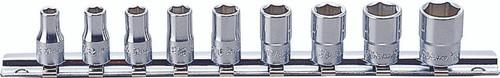 "Koken RS2400A/9 9 Piece Socket Set: 1/4"" Sq. Dr. 6 Point Socket Set on Rail"