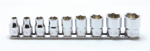 "Koken RS3400A/9 | 9 Piece Socket Set: 3/8"" Sq. Dr. 6 Point Socket Set on Rail"
