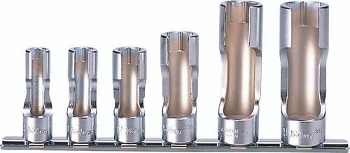 Koken RS3300FN/6 | 3/8 Sq. Drive, Flare Nut Socket Set for Lambda Probes (Oxygen Sensors)