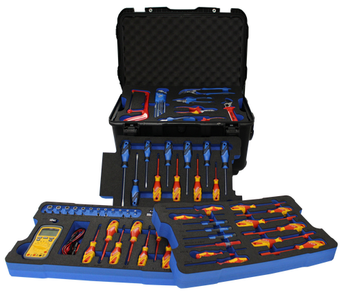 Electrician's Tool Kit - Insulated Tool Assortment Set in Foam PM-ELE-3001-00-C | Insulated Tool Set - 66 Pieces