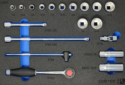 "Ko-ken Socket and Driver Set in Foam PM-HND-1026-00-F | 3/8""  Socket and Driver Set SAE"