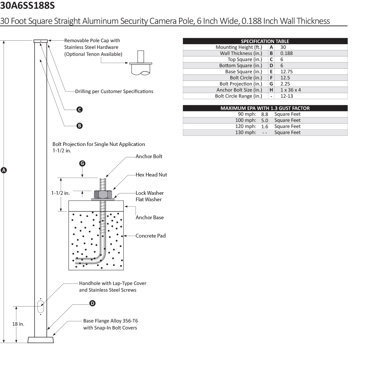 30 Foot Square Straight Aluminum Security Camera Pole, 6 Inch Wide, 0.188 Inch Wall Thickness