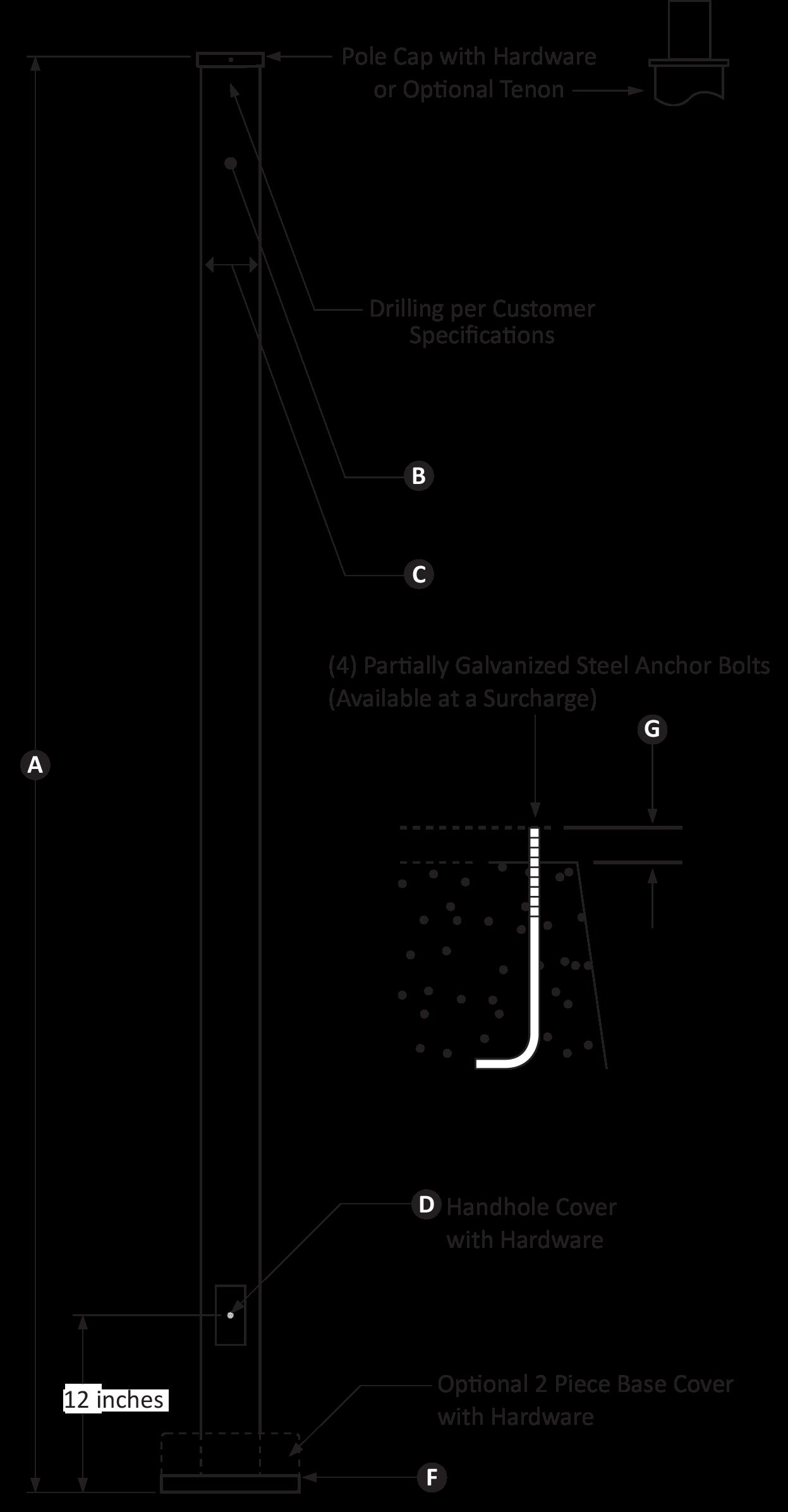 15 Foot Square Straight Light Pole - Pro's Choice Heavy Duty
