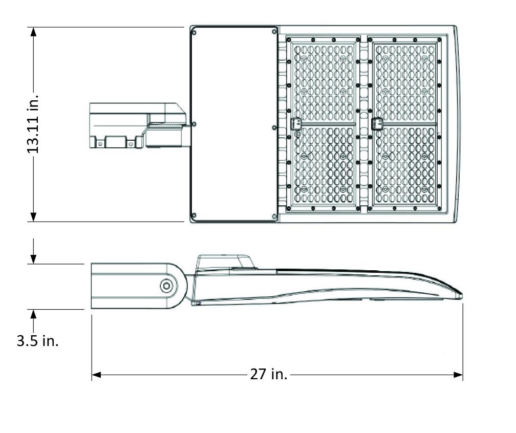 LED Pole Kit with Three Adjustable 200 Watt LED Lights, 15-30 Foot Pole Height Options