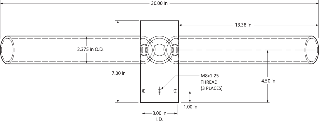 Spoke Bracket with 3 Arms at 120 Degrees