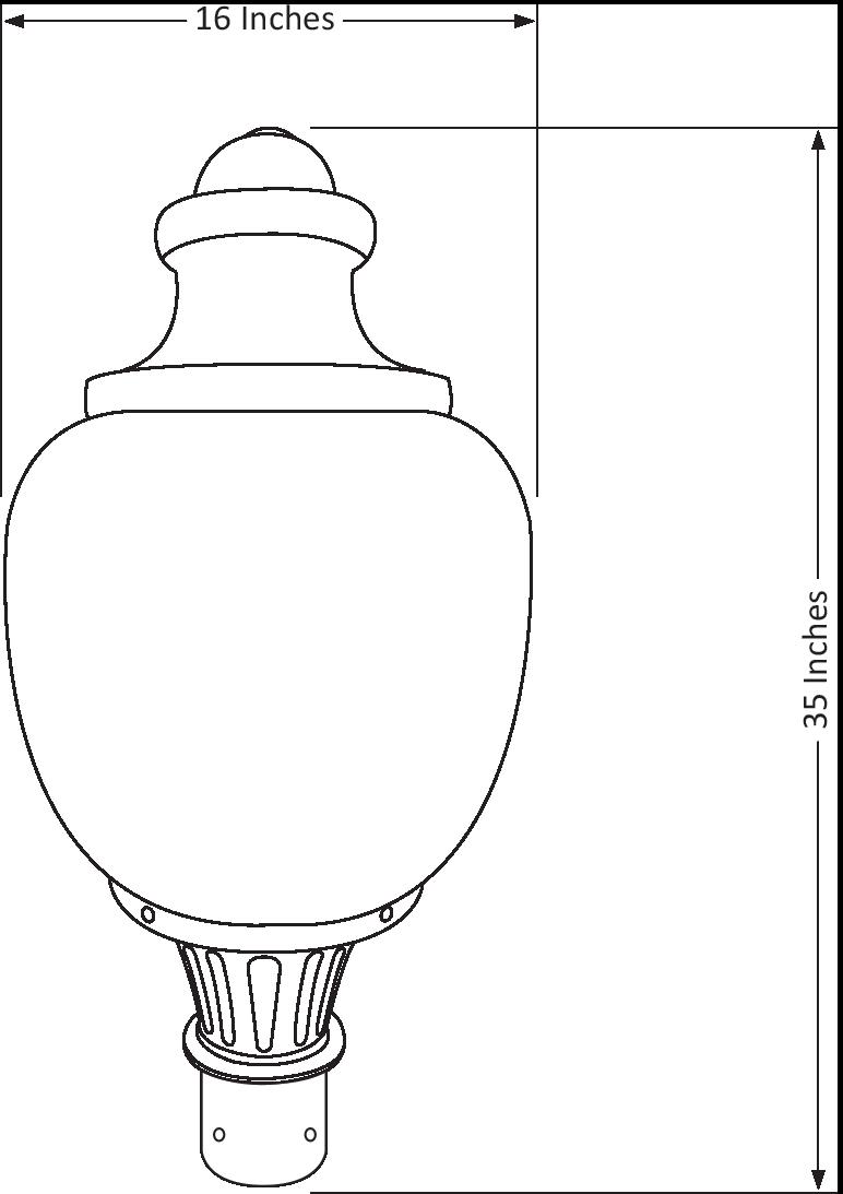 45 Watt Standard LED Acorn Light Fixture-Sacled45-Dimensional-Drawing