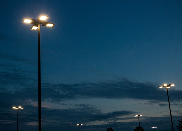 LightMart LED Light Pole Kits at Night