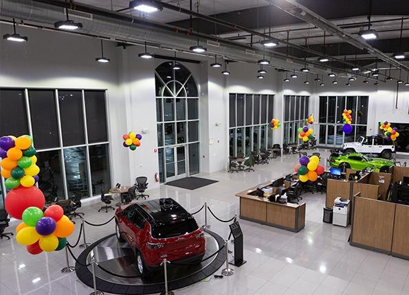LightMart Indoor Lighting in a Jeep Showroom