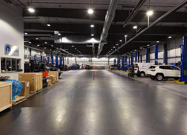 LightMart Lighting in a Dealership Garage